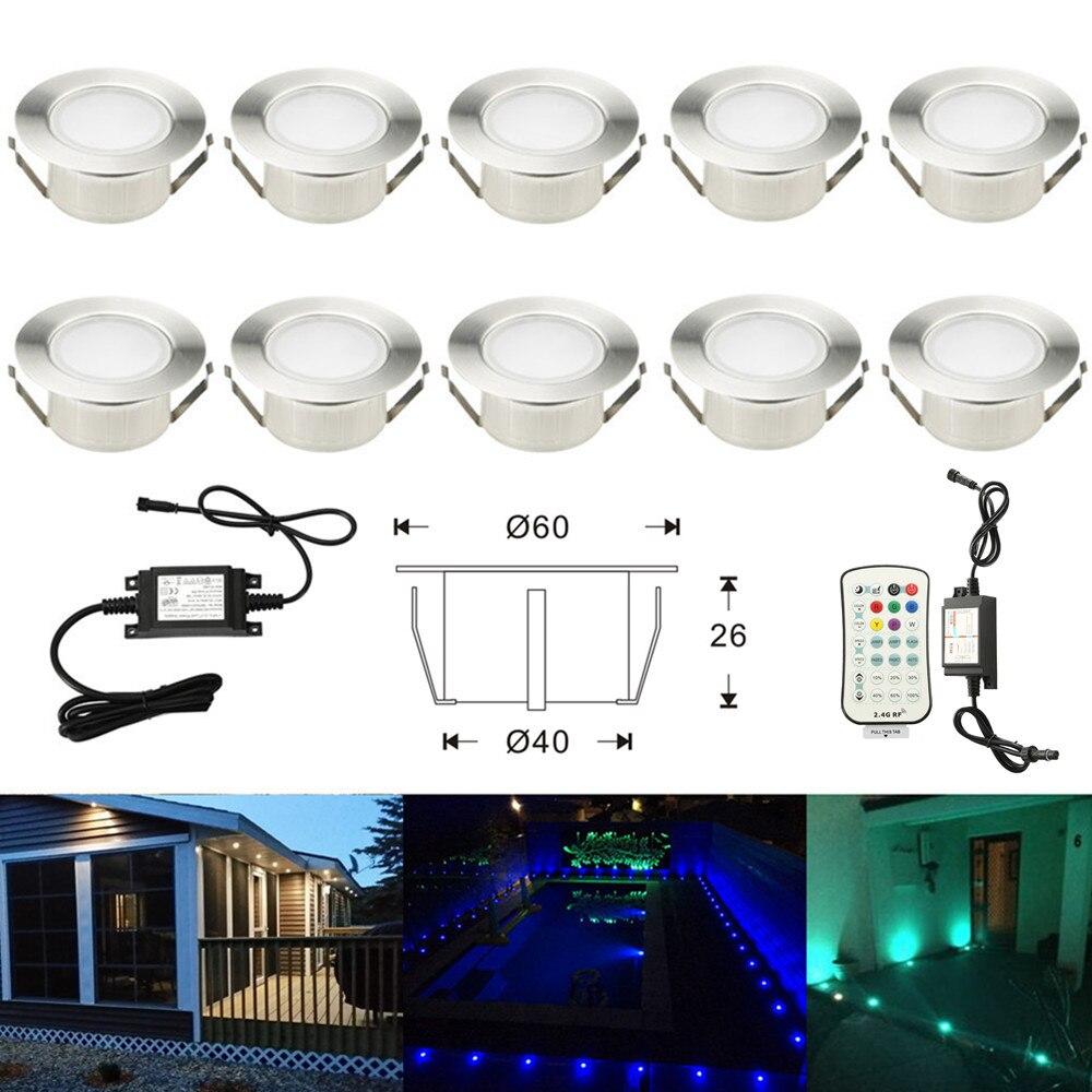 10X 61mm RGBW RGB Warm White 12V ip67 Waterproof Garden Yard Terrace Kitchen Stair Step LED