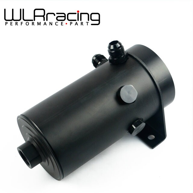 WLR RACING - UNIVERSAL ALUMINIUM ANODIZE BLACK OIL TANK WITH AN8 PORT - AN10 FLARE AND 7/8-14 FUEL TANK lzone racing black aluminium fuel surge tank with cap foam inside fuel cell 40l without sensor jr tk21bk