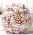 2017 New Cheap Wedding/Bridesmaid Bouquet Pink&Ivory Bridal Handmade Artificial Rose Bouquet de mariage ramo de la boda