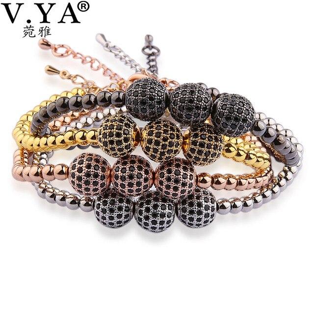 V YA Rhinestone Beads Bracelets for Men Watch Accessories Fashion Bangles Cool Man Jewelry Luxury Men's Bracelet