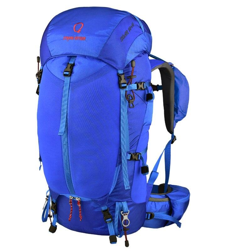 Sac à dos à oxygène fort 65 + 10L sac à dos extérieur léger respirant PES Suspension alpinisme sac de Sport à Double épaule et housse de pluie