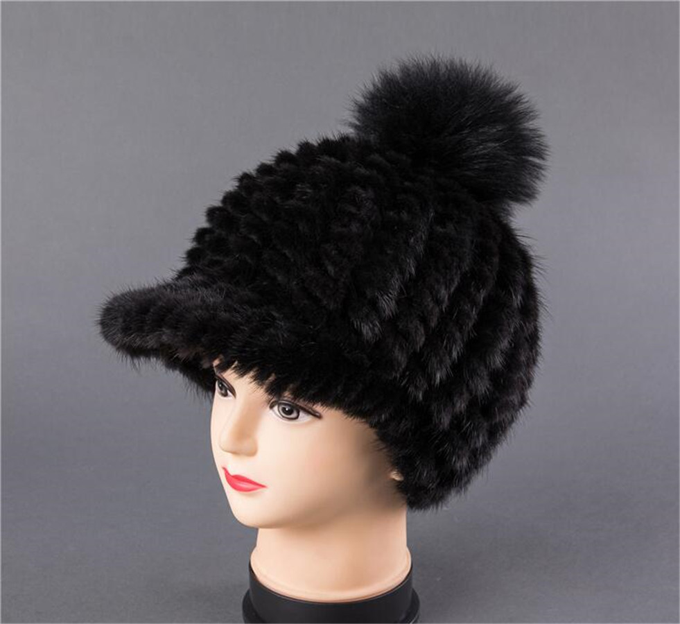 BFDADI New Fshion And Warm Hat For Women Real Natural Mink Fur Cap High quality Cute with ears and tail Hat Snow Warm - 2