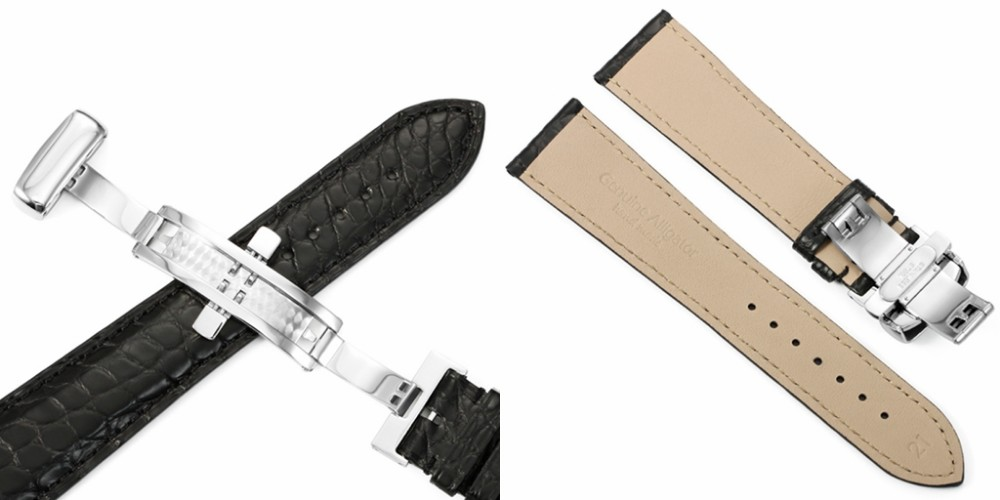 22mm couro jacaré pulseira de relógio preto