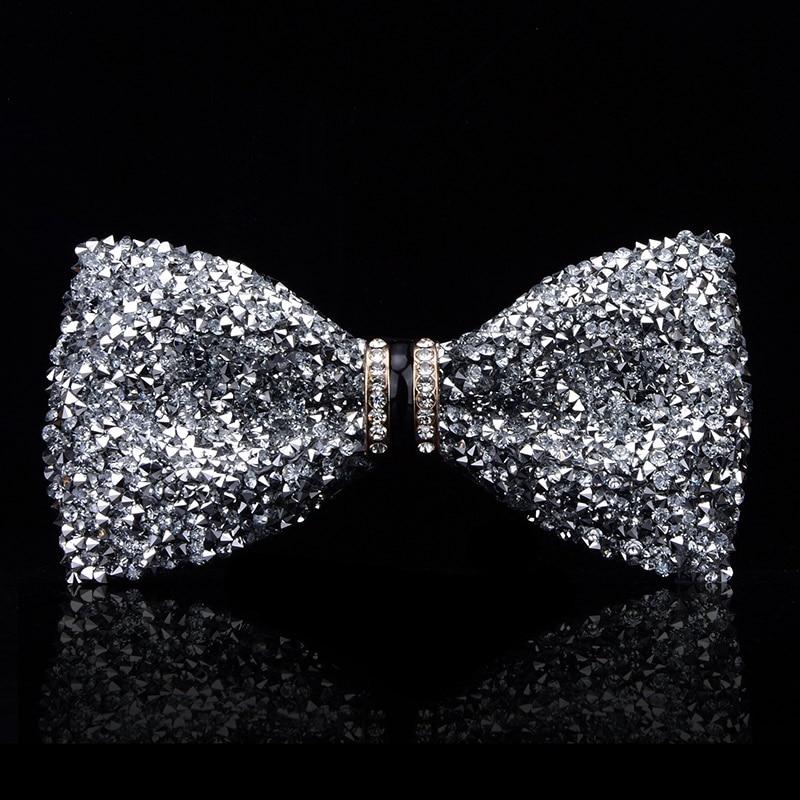 Luxury Mens Rhinestone Bow Tie Shape Corner Wedding Bridegroom Tie for Men