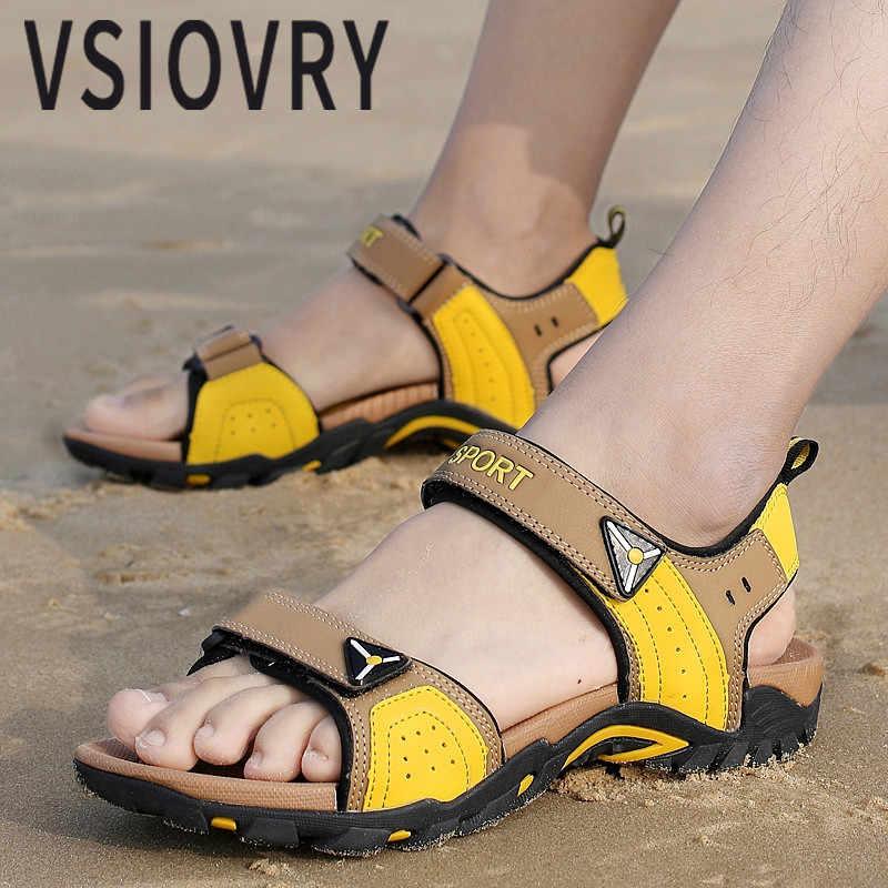 Vsiovry novo verão homens sapatos de praia 2018 sandálias ao ar livre anti-deslizamento macio unisex praia sandalias tamanho grande 35-46