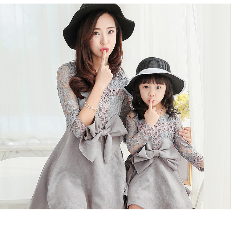 one piece price mother and daughter bow knot hollow out sleeve dress family korean style