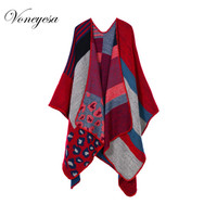 2017 New Women Winter Blanket Poncho Cape Women's Warm Cashmere Scarf and Capes Top Sale Ladies Shawl Stoles High QualtiyRO16034