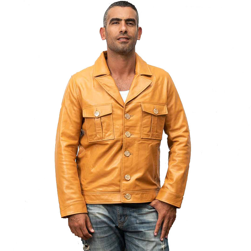 Jacket Harley Damson Yellow Single-Breasted Real-Cowhide Genuine XXXL Casual Short Spring