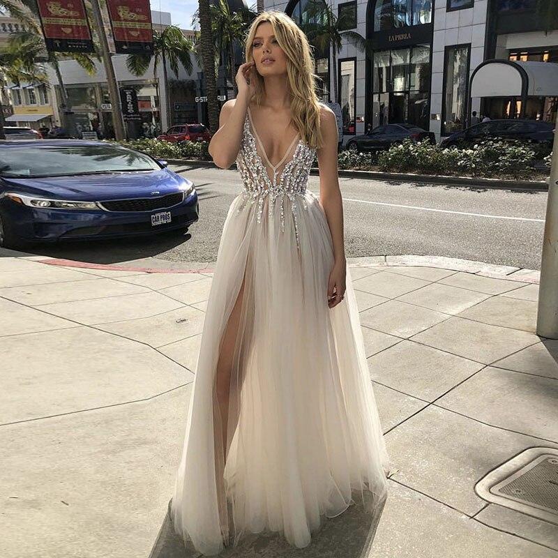 2019 Vintage Boho Beach Wedding Dresses Beaded High Split Sexy V Neck Backless A Line Tulle Sexy Boho Bridal Gowns