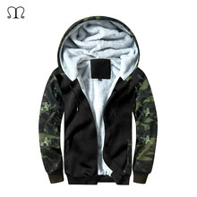 Winter Inner Fleece Jacket Men Camouflage Hoody Hoodies Mens Casual Zipper Thicken Velvet Fur Inside Jackets Tracksuit Coats Men(China)