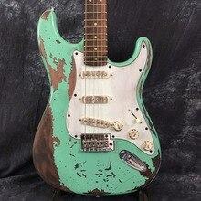 Custom Shop, Классический Зеленый St Электрический Гитары реликвии вручную. Поддержка настройки. 100% ручной работы st Гитары Ограниченная серия
