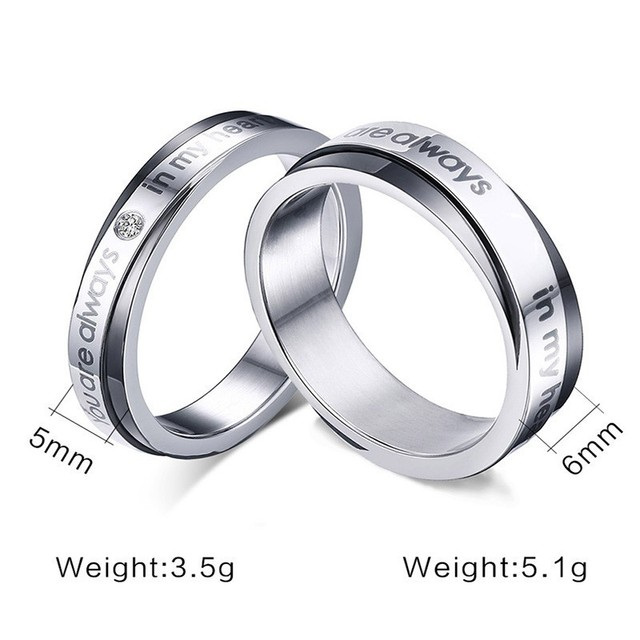Promise Love Wedding Rings for Women Man You Are Always In My Heart Alliance Anel 2