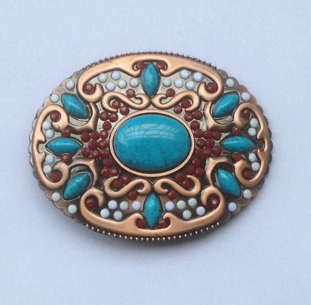 4d3290615c4 Western Native American Cow-Girl mesdames Indien Turquoise Pierre Ceinture  Boucle Bronze Finition