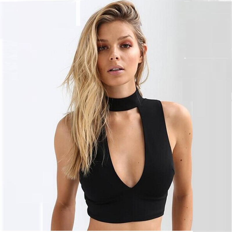f98928e1b81231 iRicheraf Hot! Off Shoulder Crop Tops Women 2017 Summer European Style Sexy  V neck Slim Solid Short Chiffon Tank Top White