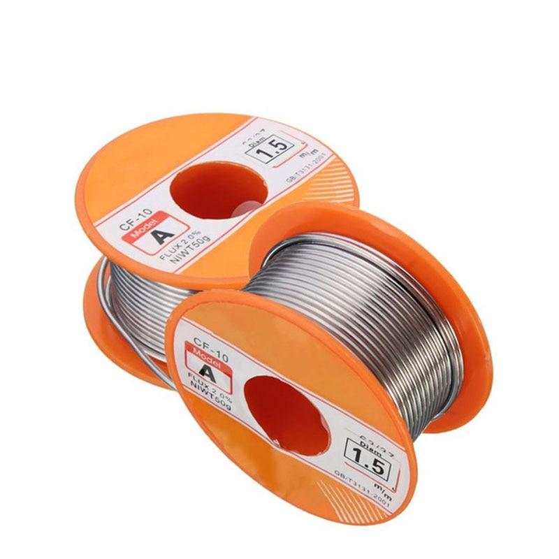 50g 0.4mm 0.6mm 0.8mm 1mm 1.5mm 63/37 Tin Lead FLUX 2.0% Tin Wire Melt Rosin Core Solder Soldering Welding Wire Reel Roll