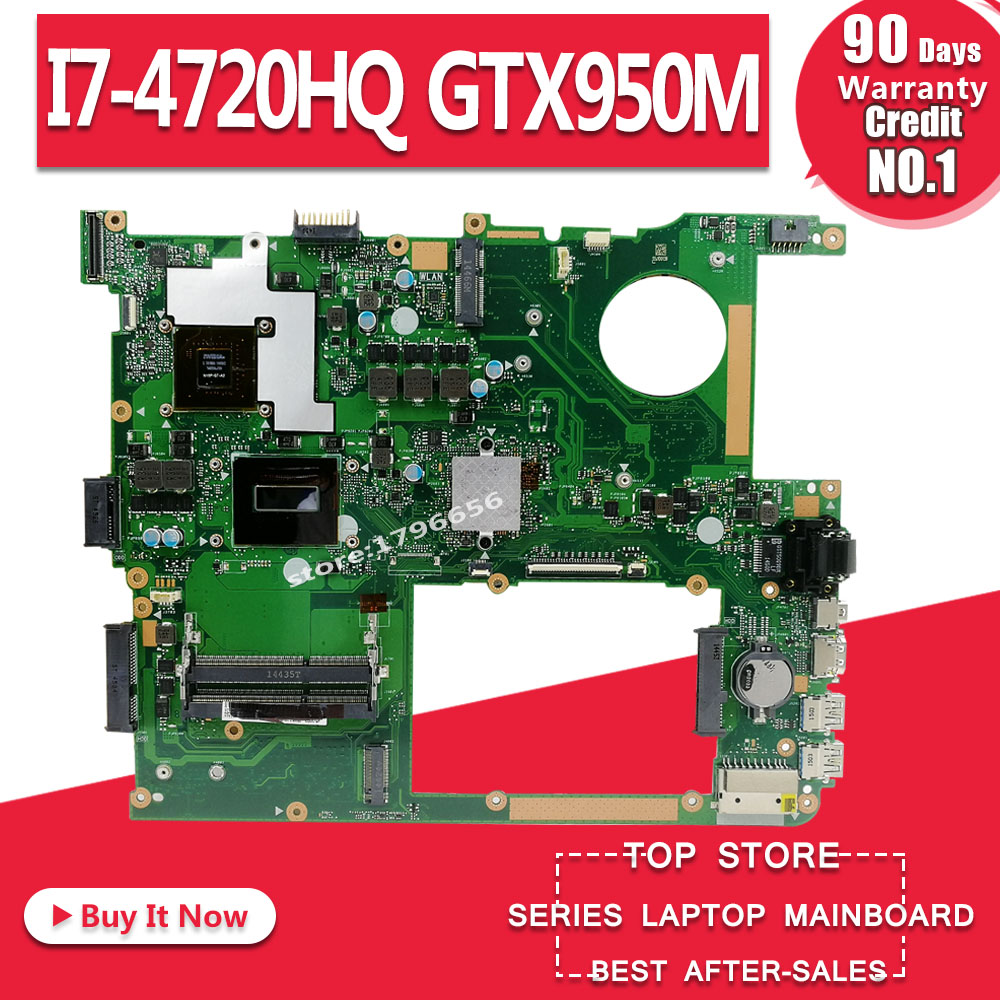 N751JX Motherboard For ASUS N751JX N751J N751JK W// I7-4710HQ GTX950M Mainboard