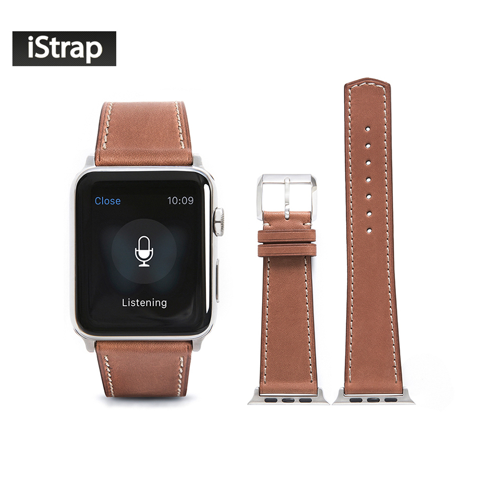 iStrap Light Brown France Calf leather Watch Strap with Silver Classic Pin buckle Spring bar adapter fit 42mm Apple Watch Band