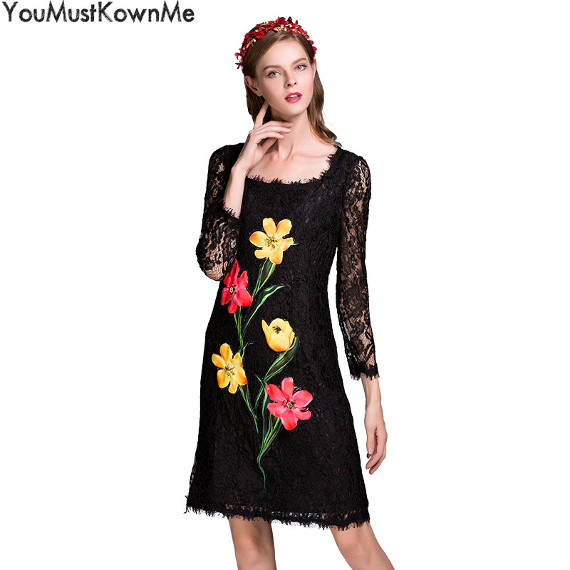 YouMustKnowMe black lace dress 2018 summer high quality long sleeve appliques beading slim bodycon dress vintage dresses