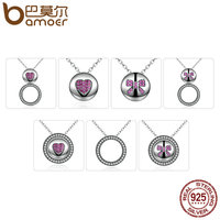 BAMOER Gift 100 925 Sterling Silver Red Heart Bowknot DIY Pendants Necklaces For Women Fashion Jewelry