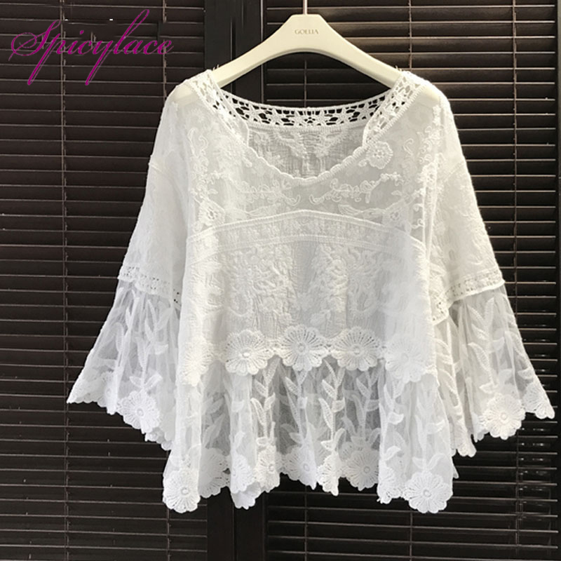 2018 Summer White Floral Flowers Lace   Blouse     Shirt   Women Tops Elegant Hollow Out Summer Tops Female   Blouse   Short Sleeve Blusas
