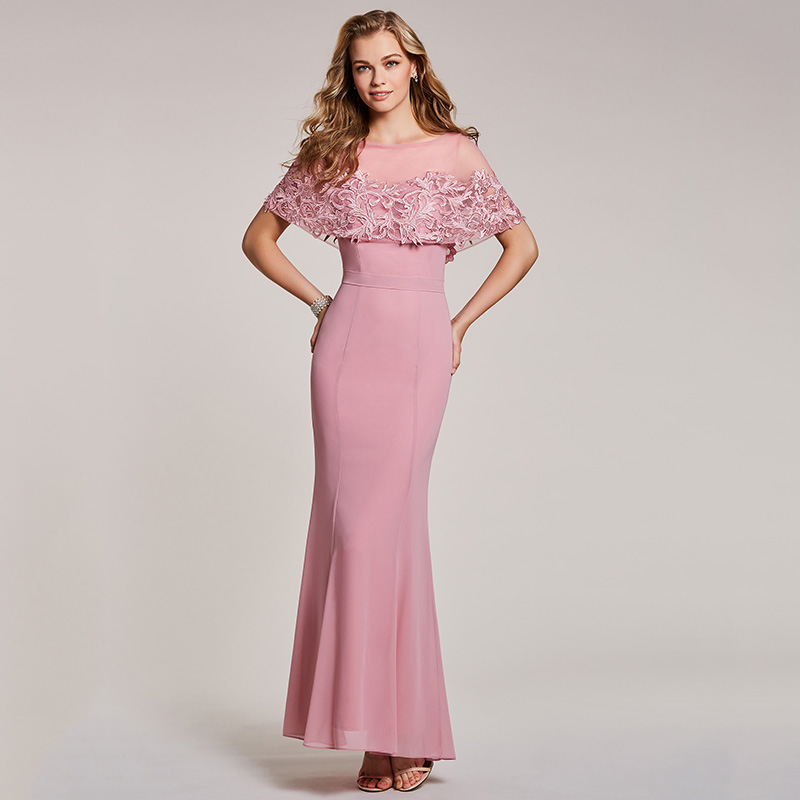 bf97316aa5 Tanpell mermaid evening dress pink bateau neck half sleeves floor length  gown women appliques long party formal evening dresses. 1 4 2 5 6 3 ...