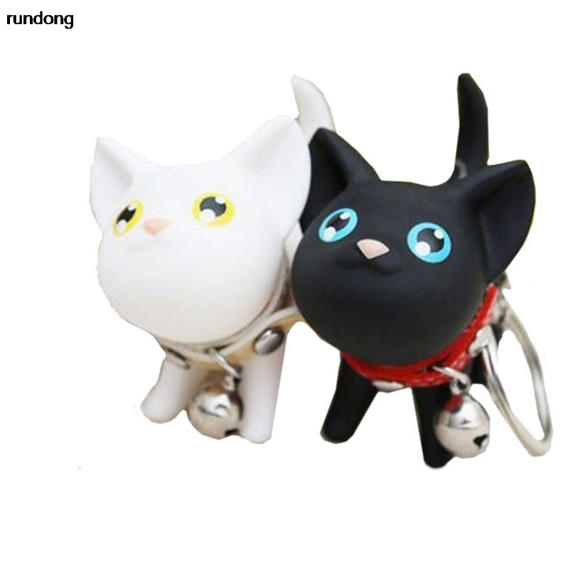 2016 new Cat Kitten Keychain Keyring Bell Toy Lover Key Chain Rings For Handbag Car Accessories factory price wholesale AUG15
