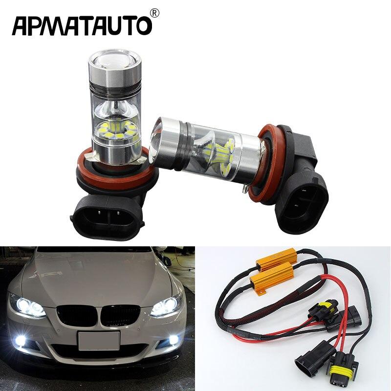 2x H11 LED Bulbs 100W For Fog Lights No Error For BMW E71 X6 M E70 X5 E83 F25 X3 2004 For E53 X5 2003 - 2006 E90 325 328 335i