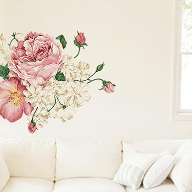 3D New beautiful peony Flower Sticker Wall Decals For Kid Room Bedroom Living Room Decorative Stickers PVC Wall Stickers
