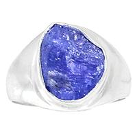 Genuine Tanzanite ROUGH Ring 925 Sterling Silver Jewelry,USA Size :7.5, MHBAR3762