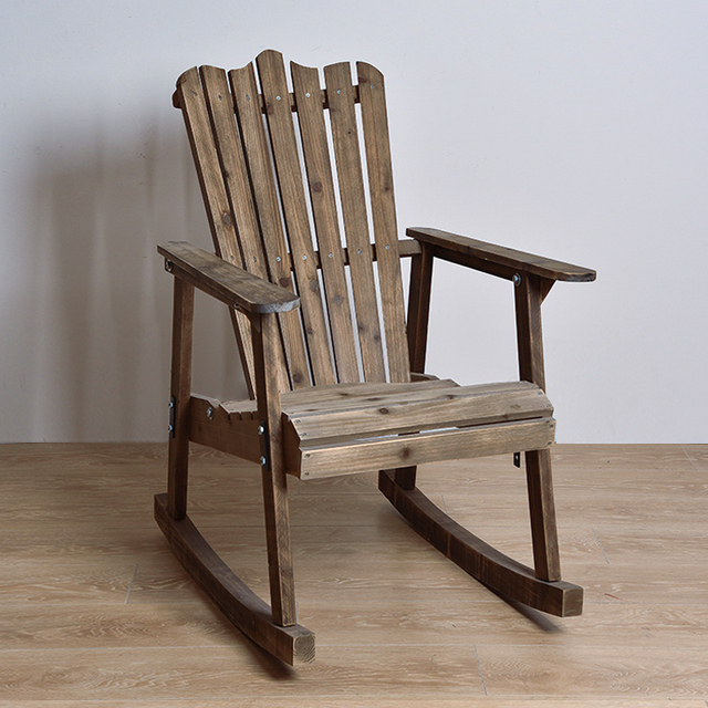 American Country Bedroom Balcony Outdoor Rocking Chair Recliner Happy Retro  Wood Siesta