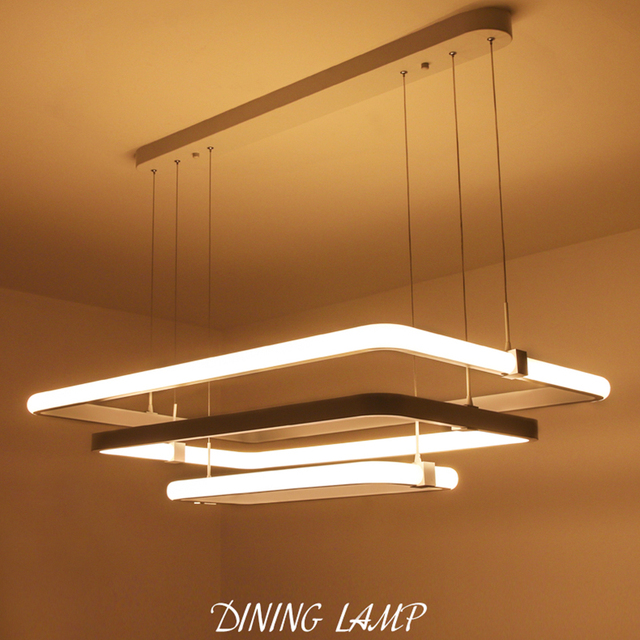 Modern 3 Square Rings LED Pendant Lights Acrylic+metal Suspension Hanging  Ceiling Lamp For For