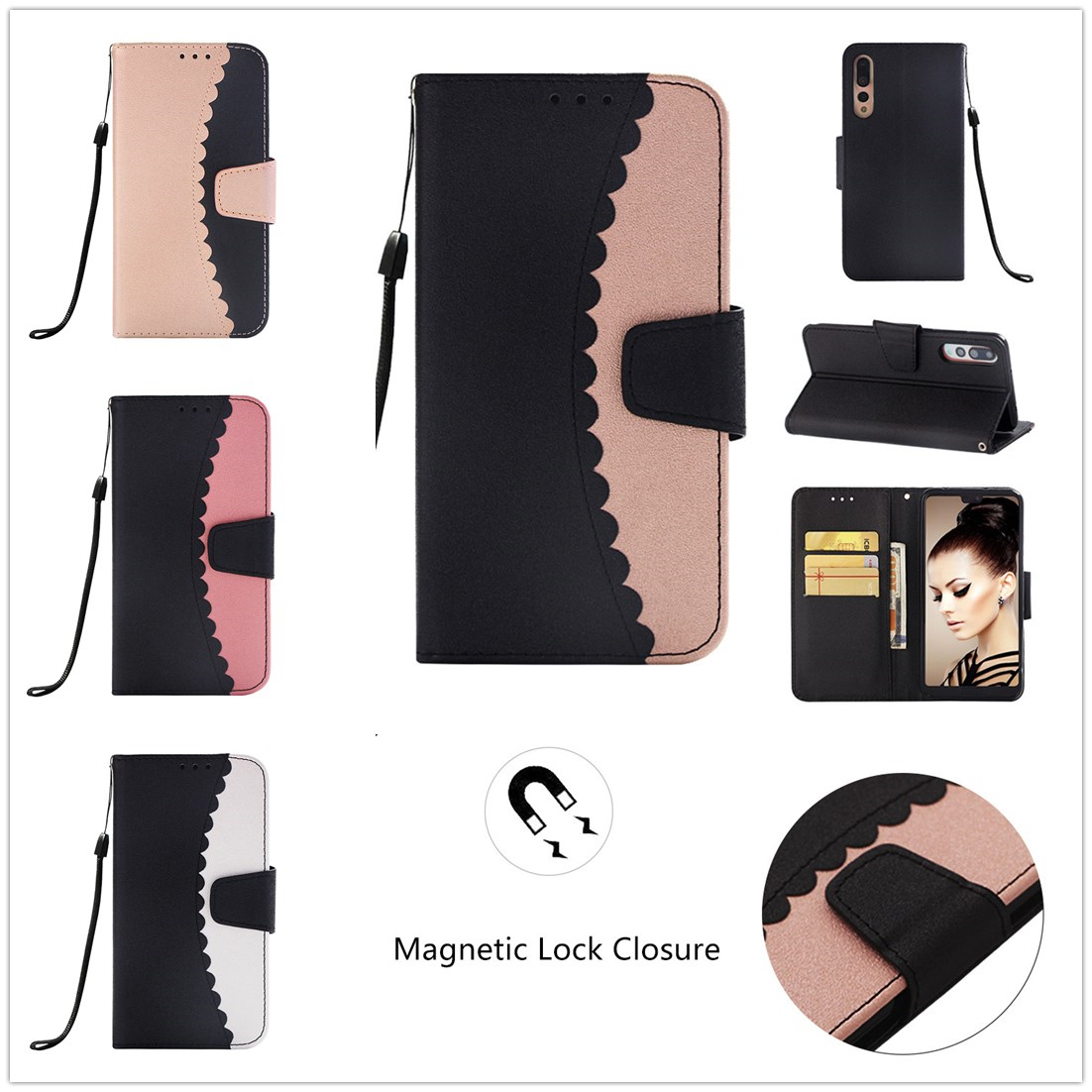 For Huawei P20 Lite Case Luxury Flip Color Matching Leather for Huawei P20 Pro Retro Card Slot Wallet Huawa Mate 10 Lite Pu Case