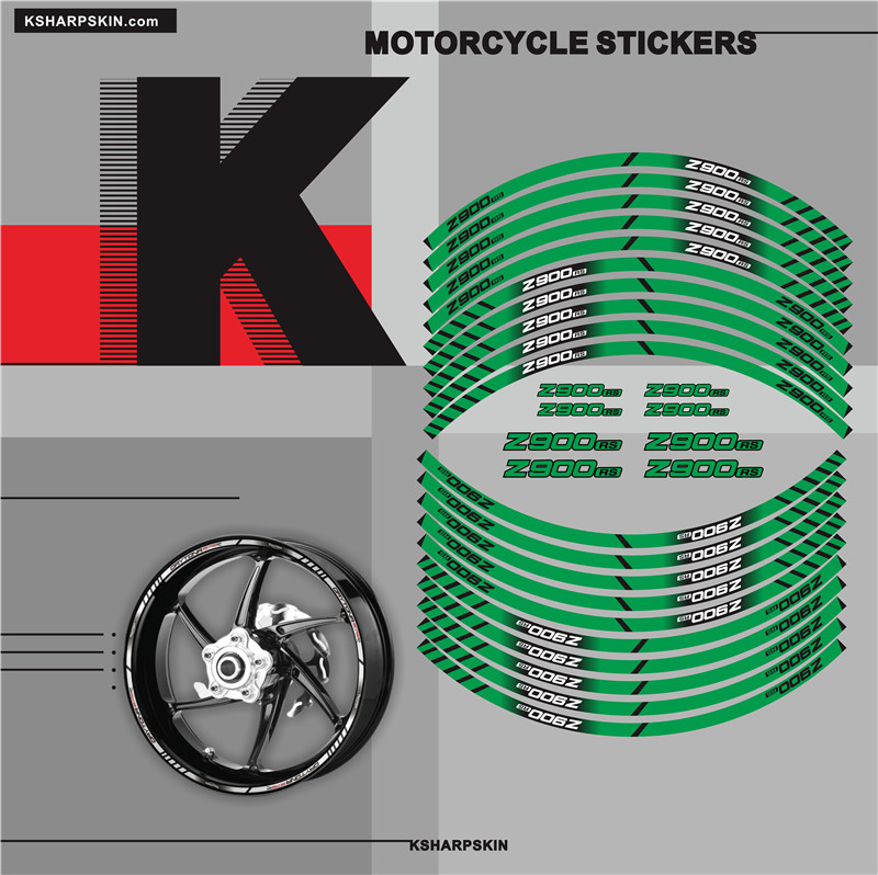 Motorcycle Tyre Stickers Inner Wheel Reflective Decoration Decals For KAWASAKI Z900RS