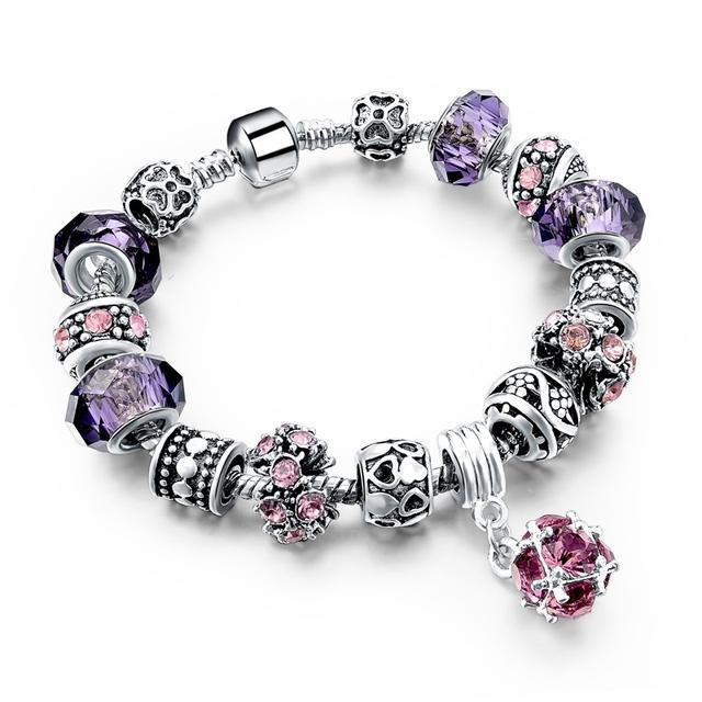 Women 925 Silver Crystal Murano Glass Beads Charm Bracelet