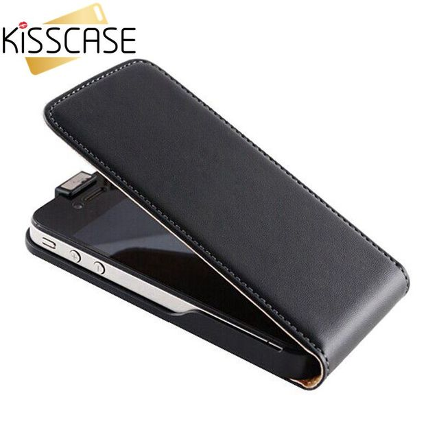 KISSCASE Retro Real Genuine Leather Case for iPhone 4 4S 4G 5 5s SE 5G 6 6s Plus Cases Luxury Flip Leather Phone Cover Coque