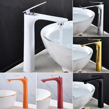 Basin Faucets Hot&Cold Tall Sink Mixer Bathroom Tap Brass Gold/Chrome/White/Red/Black Faucet Crane