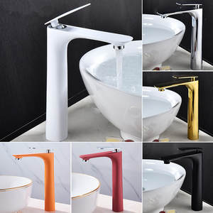 Basin Faucets Hot&Cold Tall Sink Mixer Bathroom Basin Tap Brass GoldChromeWhiteRedBlack Bathroom Faucet Crane Sink Tap