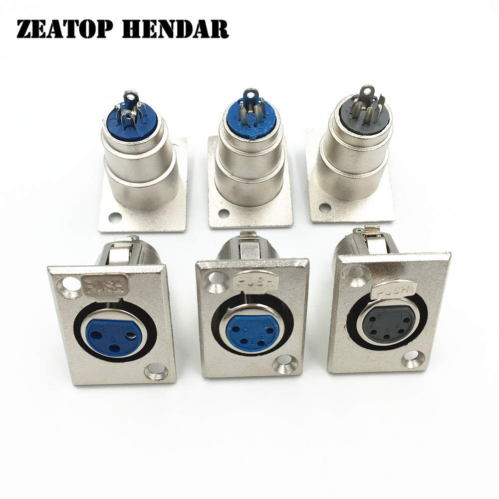 hight resolution of 8pcs metal xlr 3 4 5 pin female jack panel mount socket connector xlr wire connector nickel plated