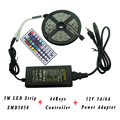 5M DC12V SMD3528 5050 No Waterproof RGB LED Strip Light Flexible LED Tape Lighting 44Keys Remote RGB Controller 12V Power Supply
