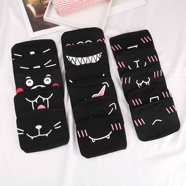 1PC Anti-Dust Cotton Facial Protective Cover Masks Cartoon Dustproof Mouth Face Mask Unisex Korean Style Kpop Black Bear Cycling
