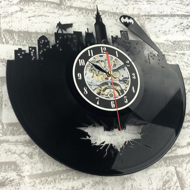 2017 Hot cd Vinyl Record Design Wall Clock Classic Batman Arkham City Logo Wall Clocks Quartz Mechanism Black Vinyl Record Reloj
