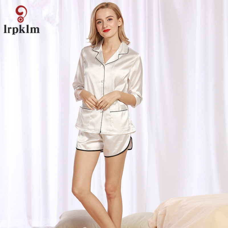 Short Pants + Short Sleeve Tops Pajamas Sets Silk Satin Nightwear Pink Navy  White Color Women Summer Sleepwear 2pcs Set SY12-in Pajama Sets from  Underwear ... 782160893