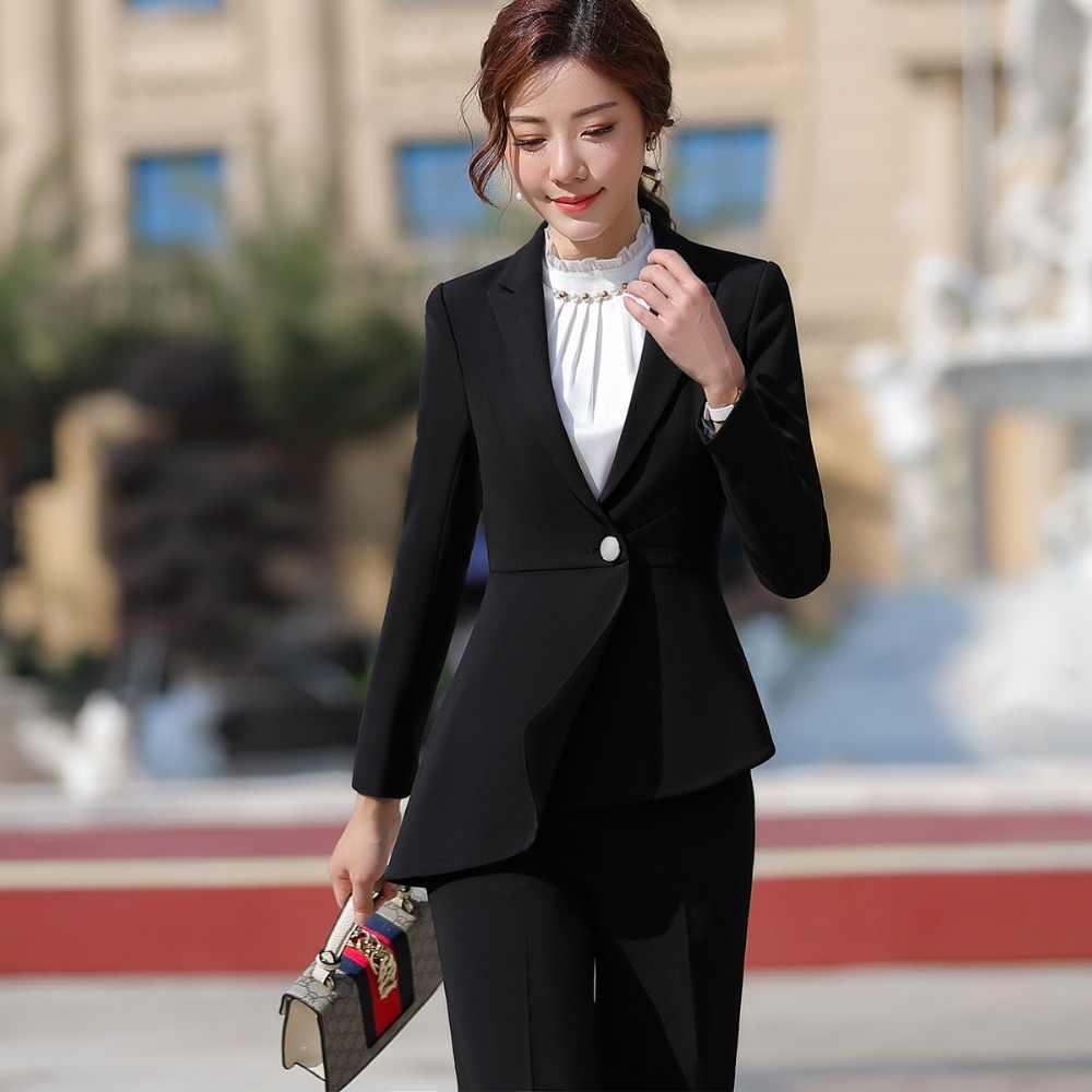 83bc59d2e287 ... Women elegant pant suit slim fashion formal black white long sleeve  symmetrical blazer with trousers office ...