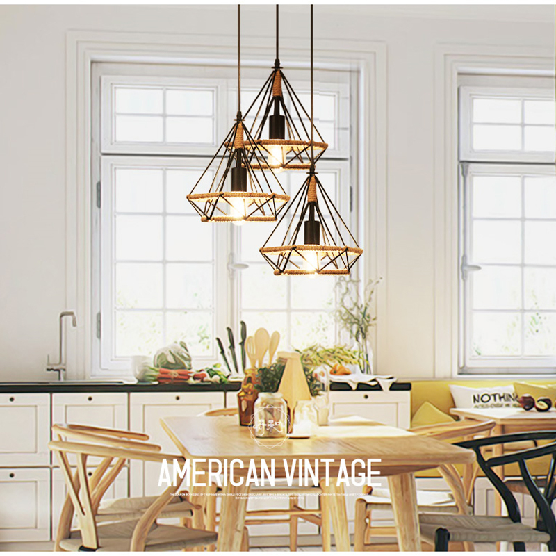 cheapest Vintage Pendant light Black Iron Rope Lamp Russia Loft Cage Light Design for Kitchen Dining Bedroom with E27 Edison Lamp Holder