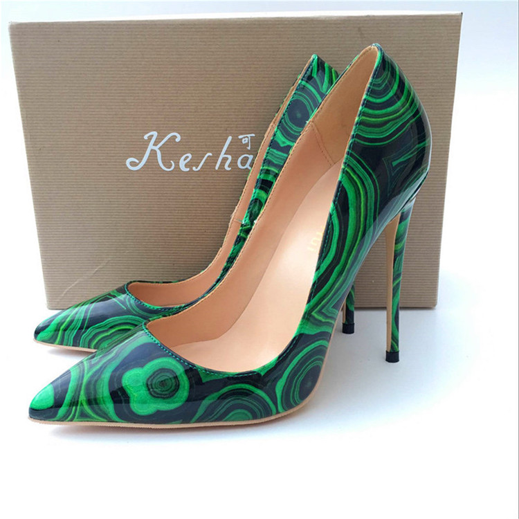 2019 Fashion free shipping green Patent Leather Poined Toe Stiletto Heel high heel shoe pump HIGH HEELED SHOES dress shoes new in Women 39 s Pumps from Shoes