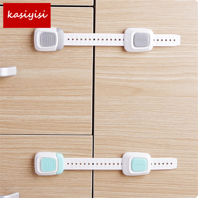 10pc/lot Child Lock Refrigerator Door Lock Multi Function Double Button Baby Cabinet Lock Child Safety Protection Drawer Lock