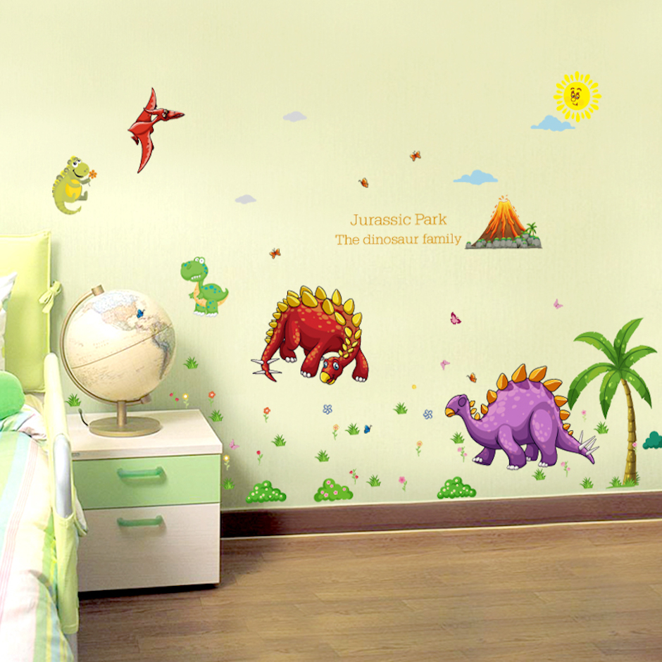 2 PCS/SET Large Size Dinosaur Family Wall Stickers For Kids Room ...
