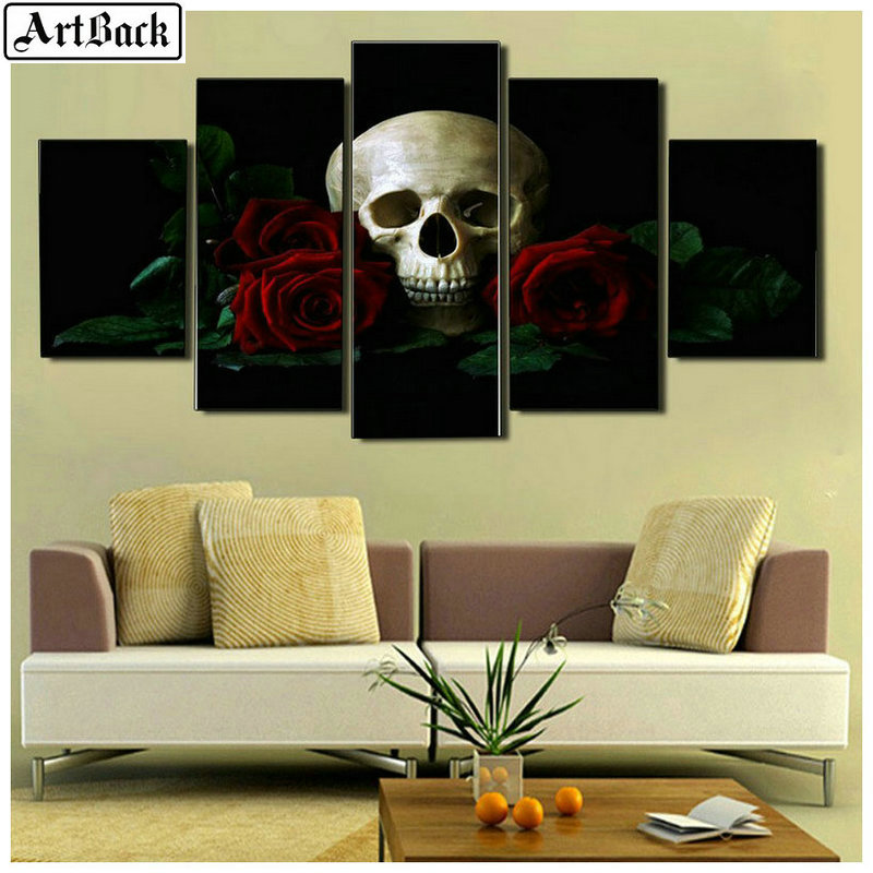 5 spelled diamond painting religious woman pictures skull diamond mosaic full square drill diamond embroidery set in Diamond Painting Cross Stitch from Home Garden