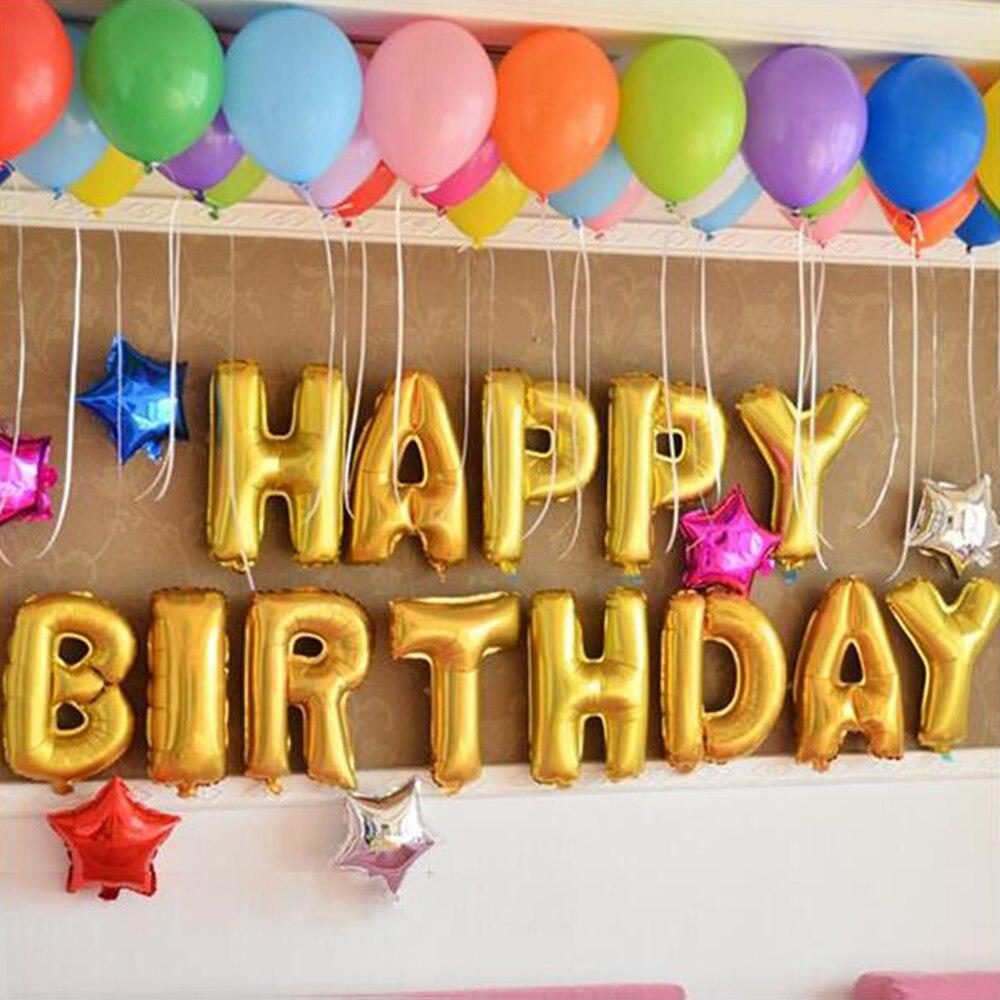 13 шт./лот 16 дюймов с днем рождения письмо в форме баллоны украшения воздушный шар фольга надувные ну вечеринку шары детские подарки
