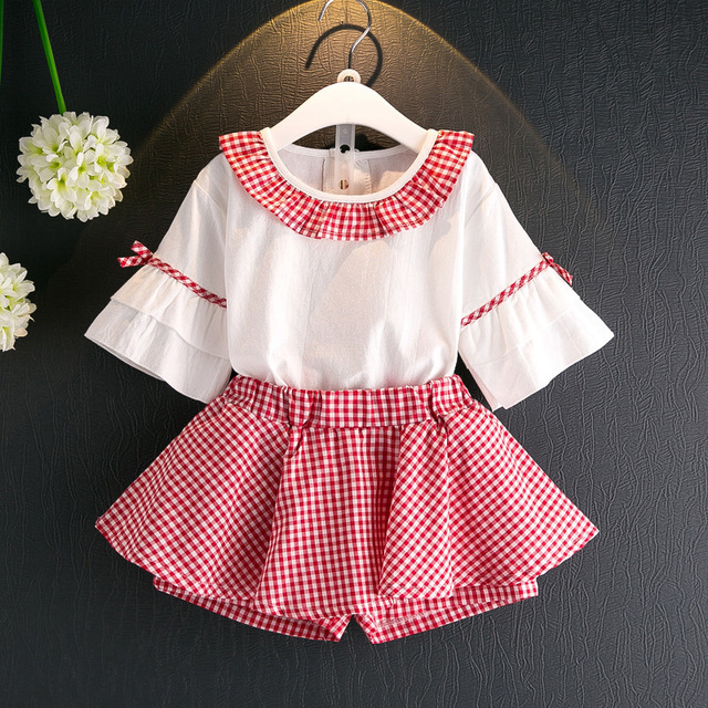 ab0deced3 2 8 Years Kids Clothes for Girls Plaids Skirt pants and Lotus Sleeve ...